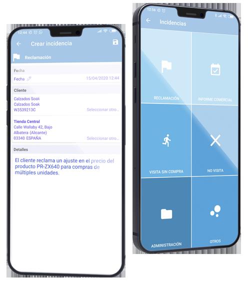 Función Incidencias en smartphone
