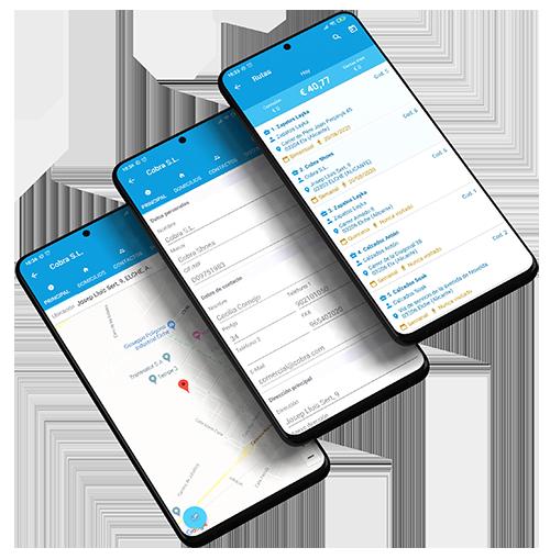 Función Rutas en dispositivo móvil
